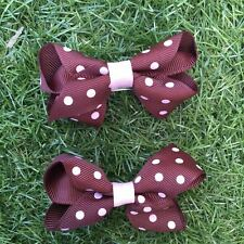 2x Baby Toddler Girl Hair Clips pairs packed BOWtique Alligator -Brown pinkspots