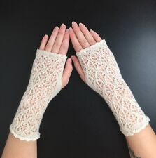 Stunning  100% Pure cashmere lace fingerless gloves.. Cream