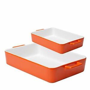 Ceramic Bakeware Set Baking Dish Lasagna Pans Casserole Dish Square 2 (Orange )