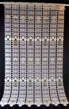 Sheer Butter White Polyester Retro Curtain Panels Embrodery Yellow Flowers