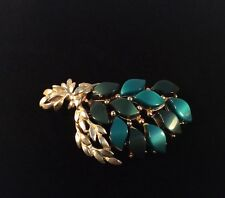 Vintage Gold Tone Aqua Green Leaf Brooch