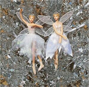 Gisela Graham Set of 2 Christmas Fairy Ballerina White Resin Tree Decorations