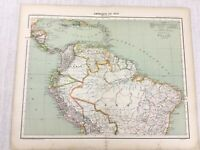 1898 French Map of South America Brazil Ecuador 19th Century Antique Original