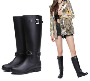 Womens Ladies Waterproof Rain Wellies Wellington Knee High Boots Riding Shoes