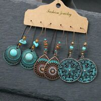 3Pairs Retro Gypsy Tribal Ethnic Earrings Set Drop Dangle Festival Women Jewelry