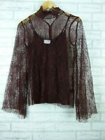 Witchery Top/Blouse Maroon/Brown? Lace Evening Event Sz XS, 8