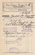 DRESDEN, Rechnung 1921, Arno Lindner Öle Fette Putzwolle