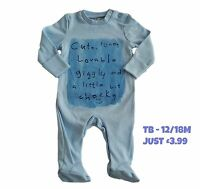 Babygrow Boys Sleepsuit Onezie Baby Grow 100% Cotton Chainstore Blue Cute NEW