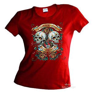 Rockabilly Gothique Tête de Mort Fille T-Shirt 1182 Rouge