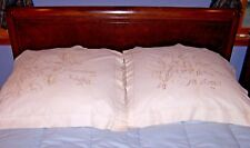 "Spectacular Antique Whitework Pillow Shams, ""Sweet Lilies"" Museum Quality 1880"