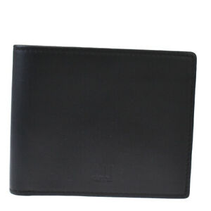 Authentic Dunhill Logos Bifold Wallet Purse Leather Black Made In Italy 09AC279