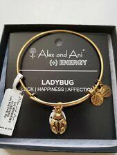 Retired Alex & Ani LADYBUG Russian Gold Charm Bracelet New W Tags Card & Box