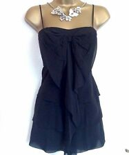 Pure Silk KAREN MILLEN Black Semi Fitted Evening Blouse Party Cami Bow Top UK 8