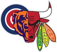 Chicago Mash Up Bears Bulls Color Die Cut Vinyl Decal Sticker - You Choose Size