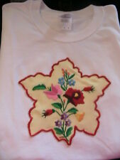 HUNGARIAN KALOCSA HAND EMBROIDERED DOILY T-SHIRT WHITE SIZE large