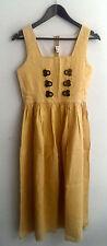 Damen Trachten Kleid ärmellos Leinen gelb Gr. 164 v. Koralpen Dirndl