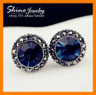 925 Sterling Silver Plated Blue Sapphire Stud Womens Vintage Antique Earrings