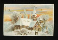 Greetings Christmas Village Church scene HOLD TO LIGHT used 1906 novelty PPC