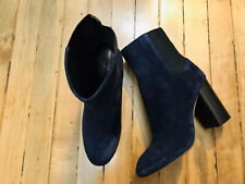 RAG AND BONE SUEDE NAVY BLUE PULL UP HEELED MID BOOTS NWOB SIZE 8.5(38.5)