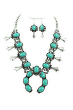 Southwestern Faux Turquoise Squash Blossom Wedding Statement Necklace & Earrings