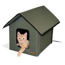 K&H Outdoor Heated Cat House, Olive