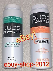 """DUDE WIPES POWDER """"2-BELOW $ale"""" Combo 1-Menthol Chill And 1- Tropic Breeze! NEW"""