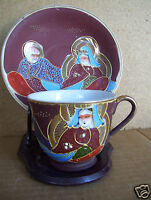 Antique Gold Decorated W/ King & Queen Couple Set Of Demitasse Cup  & Saucer