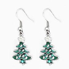 Carini BIANCO & verde albero di Natale Goccia Orecchini per regalo E668