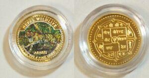 "1998 NEPAL TIGER Asarfi Proof Color Asarfi 1/20 oz Gold coin with COA ""RARE"""