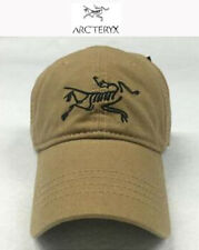 ARCTERYX® CAP BASEBALL LOGO HAT BEIGE NEW IN PRE CURVED PEAK FULLY ADJUSTABLE