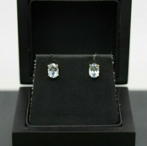 9ct Yellow Gold 1.00ct Blue Topaz Stud Earrings