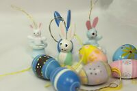 13 Vintage Wood Wooden Easter Bunny Rabbit Chick Tree Ornaments Bunnies