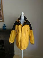LL Bean Outdoors Men's Medium Women's L Yellow Coat Hooded Multi-Pockrt Explorer