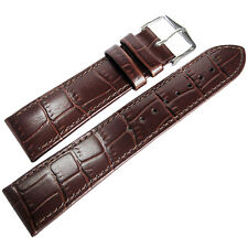 20mm Hirsch Louisiana Mens SHORT Brown Alligator-Grain Leather Watch Band Strap