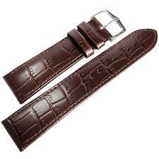 20mm Hirsch Louisiana Mens SHORT Brown Alligator-Grain Leather Watch Band Strap
