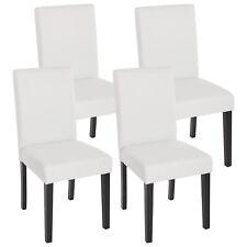 4x Esszimmerstuhl Stuhl Lehnstuhl Littau Kunstleder, weiß matt, dunkle Beine
