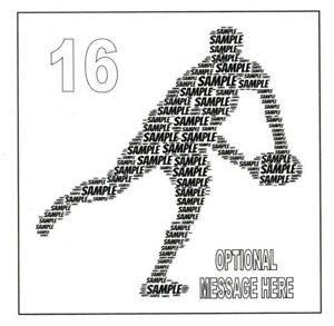 PERSONALISED RUGBY WORDART BIRTHDAY CARD - ANY NAME AND COLOUR - BOY/SON/DAD