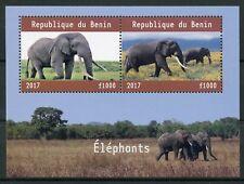 Benin 2017 MNH Elephants 2v M/S Wild Animals Stamps