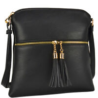 Dasein Women Small Crossbody Purse  Shoulder Messenger Bag w/ Tassel