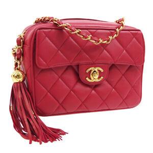 CHANEL Quilted Fringe CC Single Chain Shoulder Bag Red Leather Vintage 00623