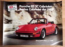 """orginal Porsche Plakat Poster """"Bestes Cabriolet der Welt"""" 1983 Porsche 911 SC"""