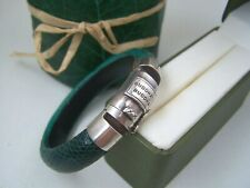 """SUPERB BUDDHA TO BUDDHA SOLID STERLING SILVER GREEN LEATHER BANGLE BRACELET 6.5"""""""