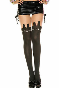 New Bunny Print Sheer and Opaque Pantyhose Music Legs 7166