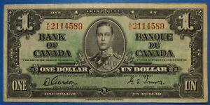 Bank of Canada $1 1937 Fine King George VI World Paper Money Pick 58c