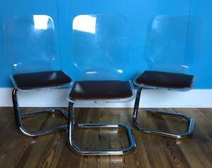 3 Mid Century Lucite & Chrome Dining Chairs Luigi Bandini Buti Designer