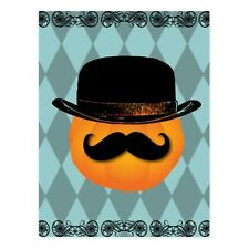 "*Postcard-Halloween-""Pumpkin with Mustache & Hat""  (#166)"