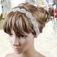 New Crystal Rhinestone Beads Bridal Hair Band Wedding Headband Ribbon Headpiece