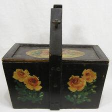 Vtg Primitive Hndld Wood Box w Lid Hand Painted Animals Flwrs 1940s
