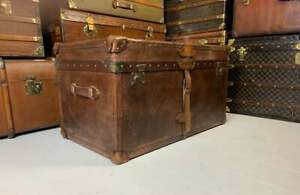 Handmade English Leather Belted Campaign Chest Coffee Table Trunk Mid Brown