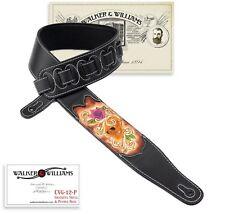Walker & Williams CVG-12P Black Padded Strap Carved Grateful Skull & Purple Rose